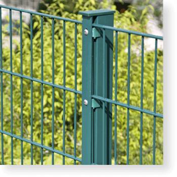 Zaunpfosten 60/40 mm für Doppelstabmatten mit Abdeckleiste, RAL 6005 moosgrün