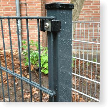 Zaunpfosten 60/40 mm für Doppelstabmatten mit Kunststoffhaltern, RAL 7016 anthrazitgrau